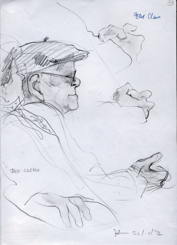 A drawing of Jack Clemo by Danish artist Heather Spears