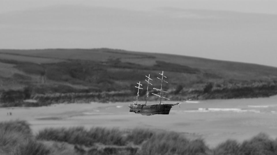 Ship on the sea in Cornwall