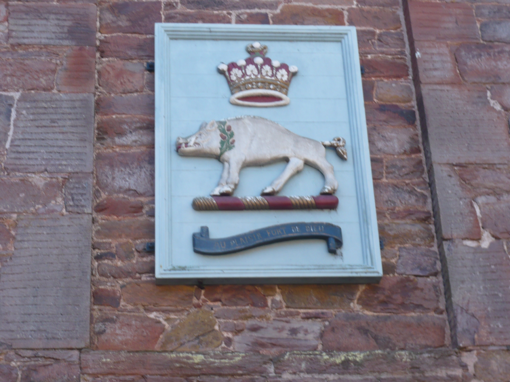 Image of The White Boar Coat of Arms of Mount Edgcumbe can still be seen at the Old Stables